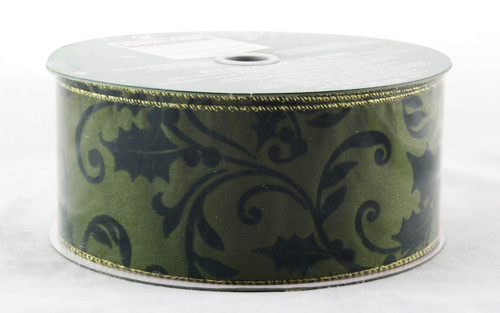 Dark Green Holly Velvet Cutout on Green Satin Wide Wired Ribbon 50 Yards