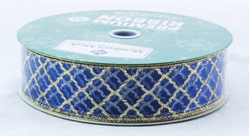 Click here to buy Gold Sparkle Lattice on Sheer Royal Blue Wired Ribbon 50 yard