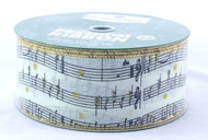 Musical Score on Ivory Burlap Wide Wired Ribbon 50 yards