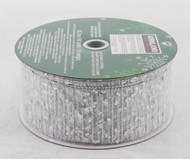 Silver Sequin Sparkle on Sheer Silver Wide Wired Ribbon 50 Yards