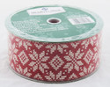 White Printed Snowflake Stitch on Solid Red Wide Wired Ribbon
