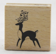 Reindeer Swirl Wood Mounted Rubber Stamp Hot Fudge Studios