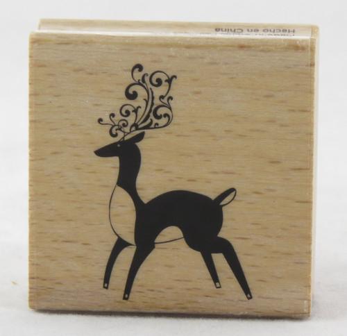 Reindeer Swirl Wood Mounted Rubber Stamp Hot Fudge Studios