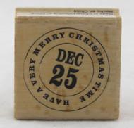December 25th Christmas Circle Wood Mounted Rubber Stamp Hot Fudge Studios