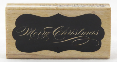 Merry Christmas Solid Tag Wood Mounted Rubber Stamp Hot Fudge Studios