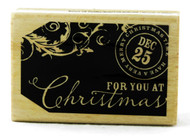 For You At Christmas Gift Tag Wood Mounted Rubber Stamp Hot Fudge Studios