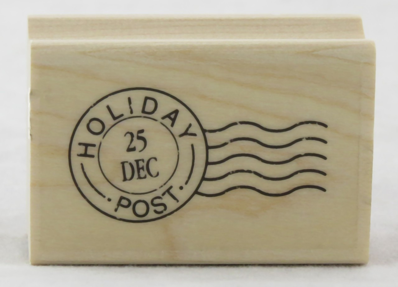 Holiday Post Mark Wood Mounted Rubber Stamp | Archway Variety