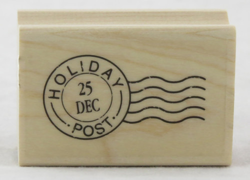 Holiday Post Mark Wood Mounted Rubber Stamp Hero Arts