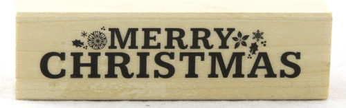 Merry Christmas With Snowflakes Wood Mounted Rubber Stamp Hero Arts