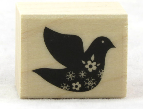 Click here to buy Dove With Snowflake Wood Mounted Rubber Stamp Hero Arts