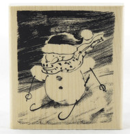 Shop here now for Snow Slopes Snowman Wood Mounted Rubber Stamp Penny Black