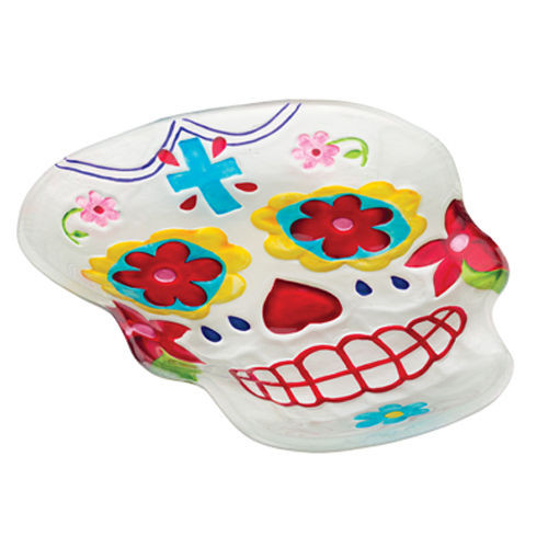 Click here to buy now Sugar Skull Day of The Dead Glass Plate