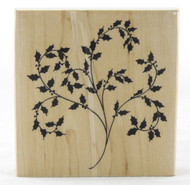 Holly Flourish Wood Mounted Rubber Stamp Penny Black