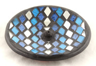 Mosaic Glass Blue Silver Round Ceramic Incense Burner