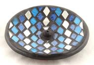Mosaic Glass Blue Silver Round Ceramic Incense Burner