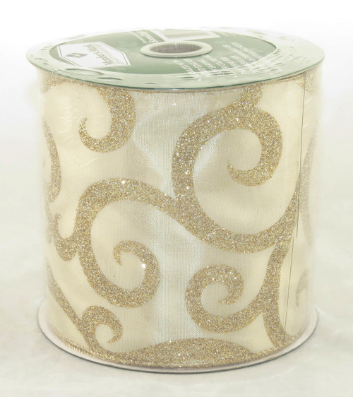 Gold Sparkle Swirl on Solid Champagne Extra Wide Wired Ribbon 25 Yards