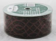 Dark Brown Sparkle Swirl on Sheer Brown Wide Wired Ribbon 50 Yards