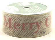 Merry Christmas on Vintage Newsprint Solid Taupe Wide Wired Ribbon 50 Yards