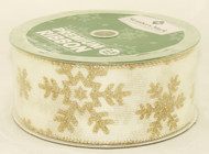 Champagne Sparkle Snowflake On Ivory Burlap Wide Wired Ribbon 50 Yards