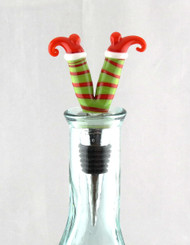 Elf Legs Glass and Metal Bottle Topper