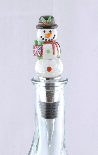 Snowman LED Glass and Metal Bottle Topper