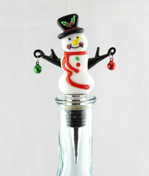 Snowman and Jingle Bells Glass and Metal Bottle Topper