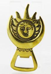 Gold Sun Brass Bottle Opener Earthbound Trading