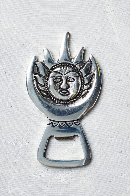 Silver Sun Brass Bottle Opener Earthbound Trading