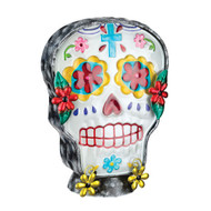 Sugar Skull Day of The Dead Glass Metal Electric Lamp