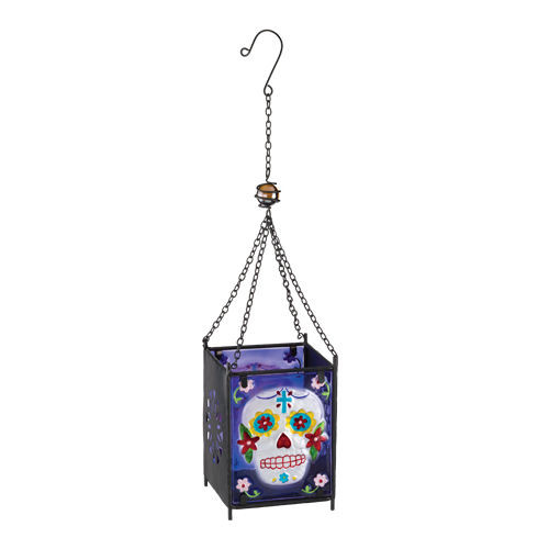 Day of The Dead Sugar Skull Glass Hanging Lantern Candleholder