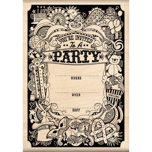 Party Invitation Wood Mounted Rubber Stamp Inkadinkado