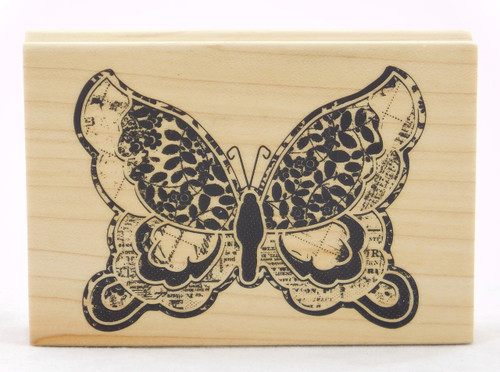 Patterned Butterfly Large Wood Mounted Rubber Stamp Inkadinkado