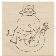 Ukulele Snowman Wood Mounted Rubber Stamp Inky Antics