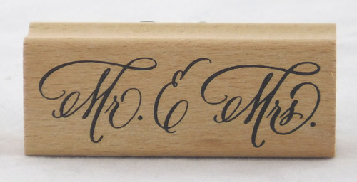 Mr. & Mrs. Script Wood Mounted Rubber Stamp Stampendous