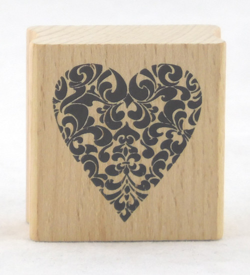 Decorative Heart Wood Mounted Rubber Stamp Stampendous