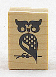 Owl on Branch Wood Mounted Rubber Stamp Inkadinkado