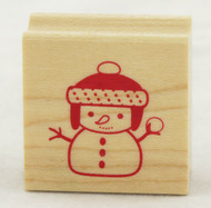 Snowman Wood Mounted Rubber Stamp Inkadinkado