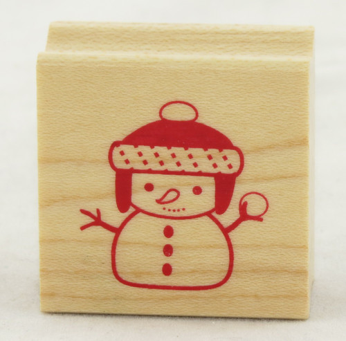 Snowman Wood Mounted Rubber Stamp Inkadinkado