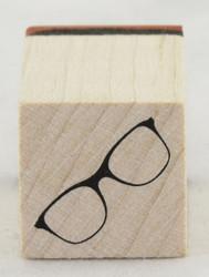 Eyeglasses Wood Mounted Rubber Stamp Inkadinkado