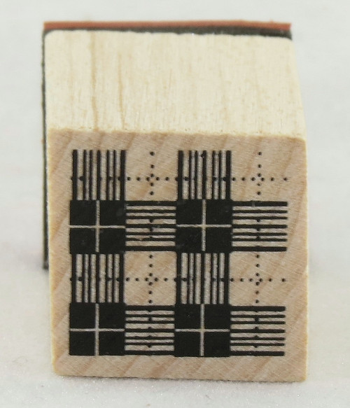 Plaid Pattern Wood Mounted Rubber Stamp Inkadinkado