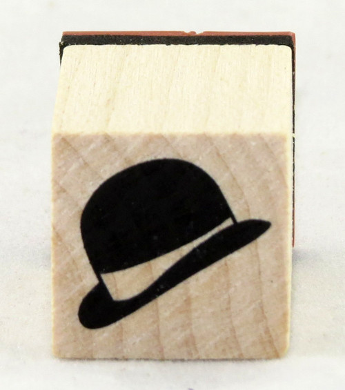 Bowler Hat Wood Mounted Rubber Stamp Inkadinkado