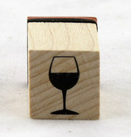 Wine Glass Wood Mounted Rubber Stamp Inkadinkado
