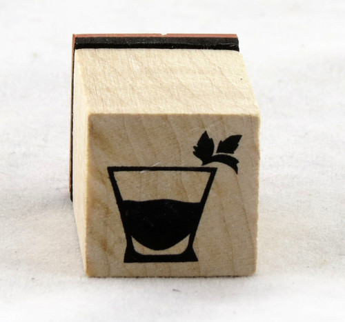 Cocktail Glass Wood Mounted Rubber Stamp Inkadinkado