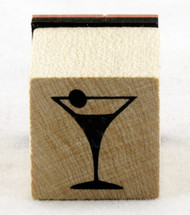Martini Glass Wood Mounted Rubber Stamp Inkadinkado