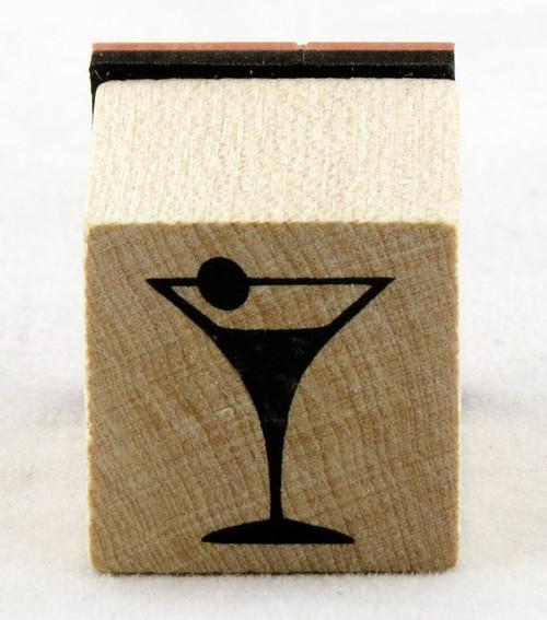 Martini Glass Wood Mounted Rubber Stamp Inkadinkado
