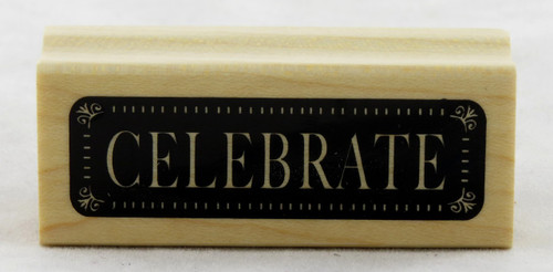 Celebrate Wood Mounted Rubber Stamp Inkadinkado