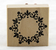 Floral Wreath Frame Wood Mounted Rubber Stamp Martha Stewart