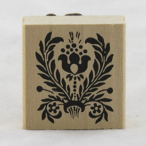 Tulip Folk Flower Flourish Wood Mounted Rubber Stamp Martha Stewart
