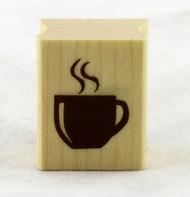 Coffee Cup Wood Mounted Rubber Stamp Inkadinkado