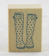 Polka Dot Rain Boot Galoshes Wood Mounted Rubber Stamp Inkadinkado